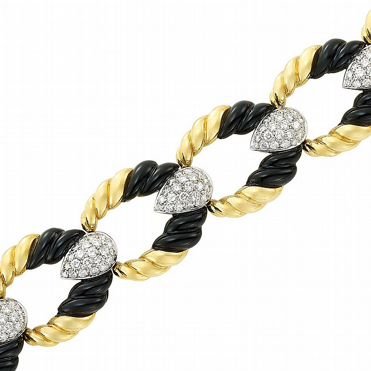 Two-Color Gold, Diamond and Black Onyx Bracelet