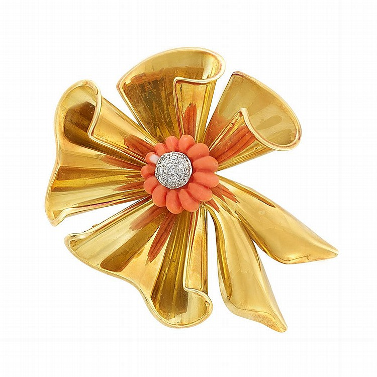Two-Color Gold, Carved Coral and Diamond Bow Brooch
