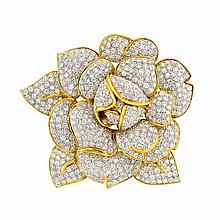 Two-Color Gold, Diamond and South Sea Cultured Pearl Flower Clip-Brooch
