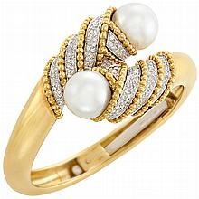 Two-Color Gold, South Sea Cultured Pearl and Diamond Crossover Bangle Bracelet