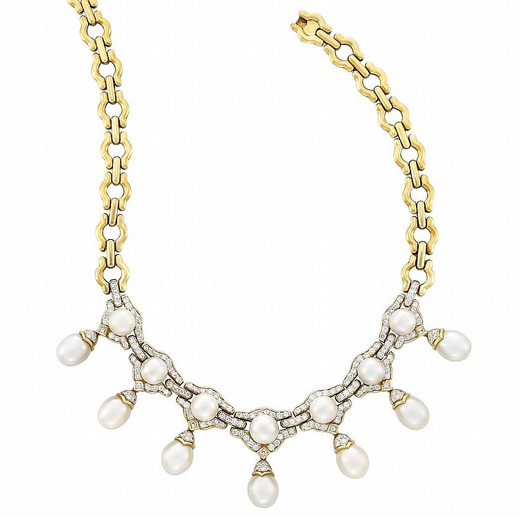Gold, South Sea Cultured Pearl and Diamond Necklace