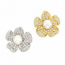 Pair of Platinum, Gold-Plated Platinum, South Sea Cultured Pearl and Diamond Flower Brooches
