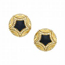 Pair of Gold, Black Onyx and Diamond Earclips
