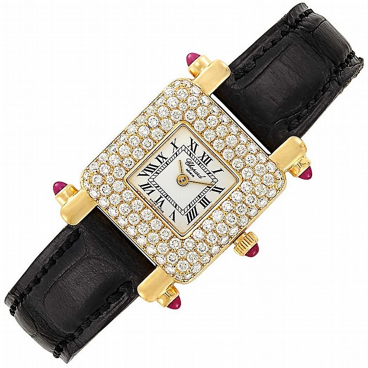 Lady''s Gold and Diamond Wristwatch, Chopard