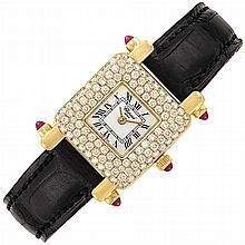 Lady''s Gold and Diamond Wristwatch, Chopard
