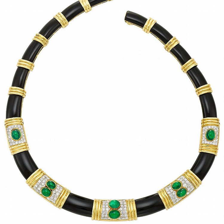 Two-Color Gold, Black Onyx, Cabochon Emerald and Diamond Necklace