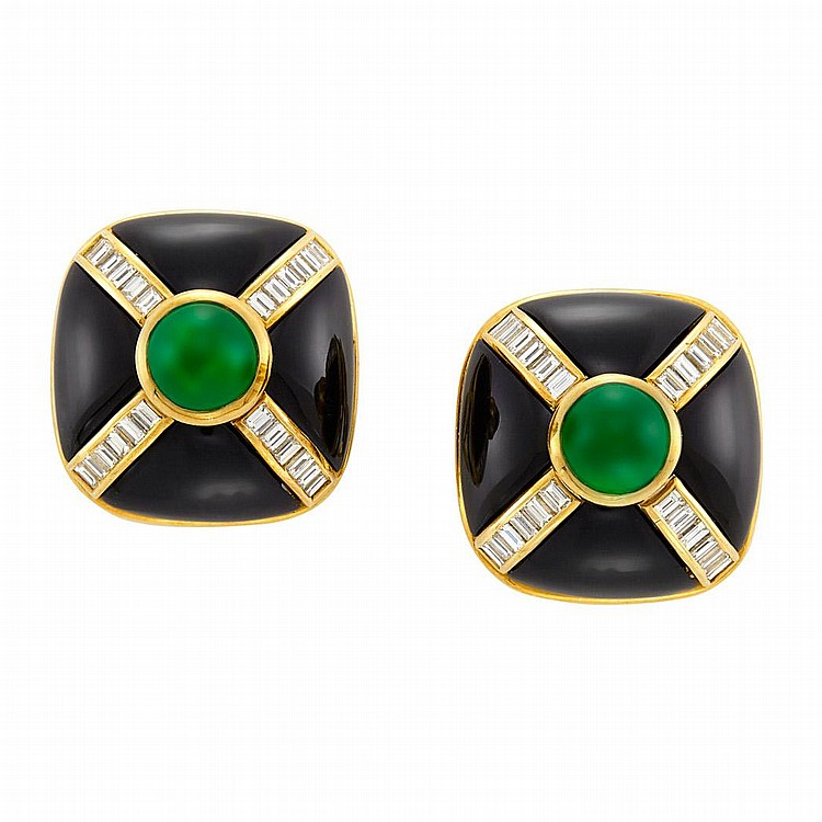 Pair of Gold, Black Onyx, Cabochon Emerald and Diamond Earclips