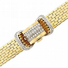 Lady''s Two-Color Gold and Diamond Bracelet-Watch, Rolex