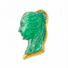 Gold and Carved Emerald Pendant Clip-Brooch, David Webb
