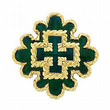Gold and Green Enamel Pendant Clip-Brooch, David Webb