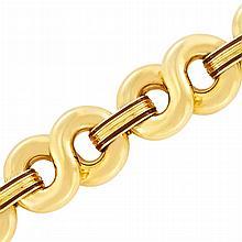 Gold and Brown Enamel Link Bracelet
