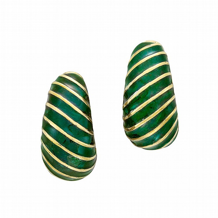 Pair of Gold and Green Enamel Hoop Earclips, David Webb