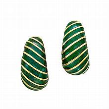 Pair of Gold and Green Enamel Hoop Earclips, David Webb