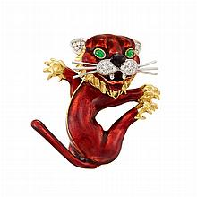 Two-Color Gold, Red Enamel, Diamond and Cabochon Emerald Lion Cub Clip-Brooch, Kutchinsky