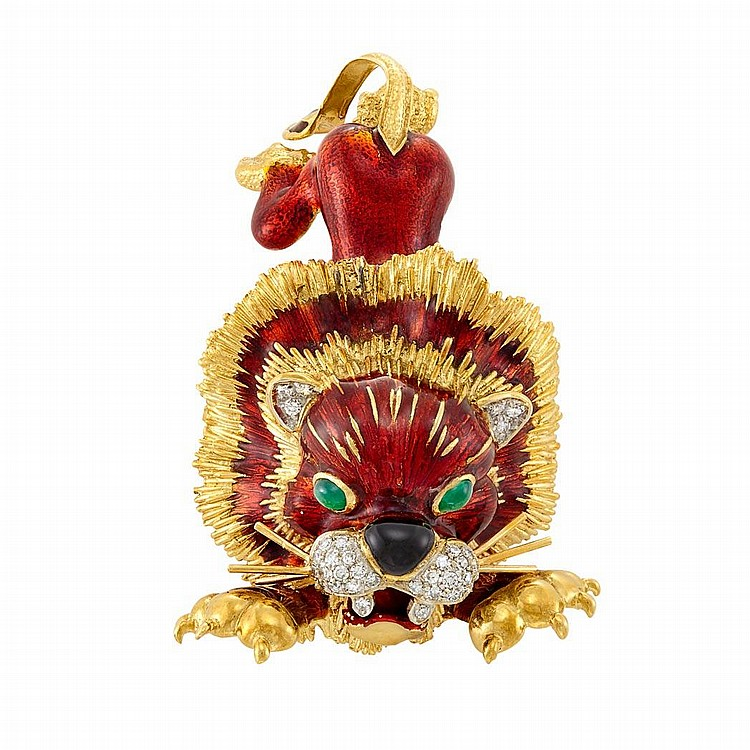 Gold, Enamel and Diamond Lion Brooch, Frascarolo