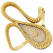 Lady''s Gold and Diamond Bangle-Watch, DeLaneau