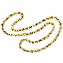 Long Rope-Twist Gold Chain Necklace