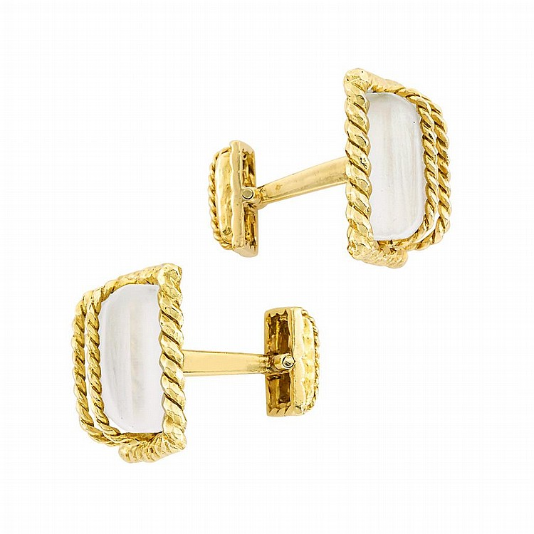 Pair of Gold and Frosted Rock Crystal Cufflinks, David Webb