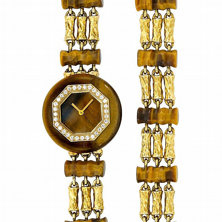 Triple Strand Gold, Tiger''s Eye and Diamond Wristwatch and Bracelet, Boucheron, Paris