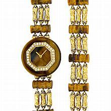 Triple Strand Gold, Tiger''s Eye and Diamond Wristwatch and Bracelet, Boucheron, Paris