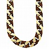 Long Gold and Wood Curb Link Necklace and Bracelet