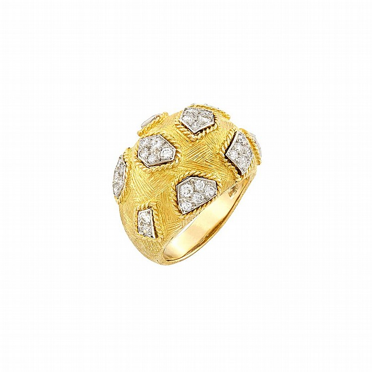 Two-Color Gold and Diamond Bombe Ring, Van Cleef & Arpels, France