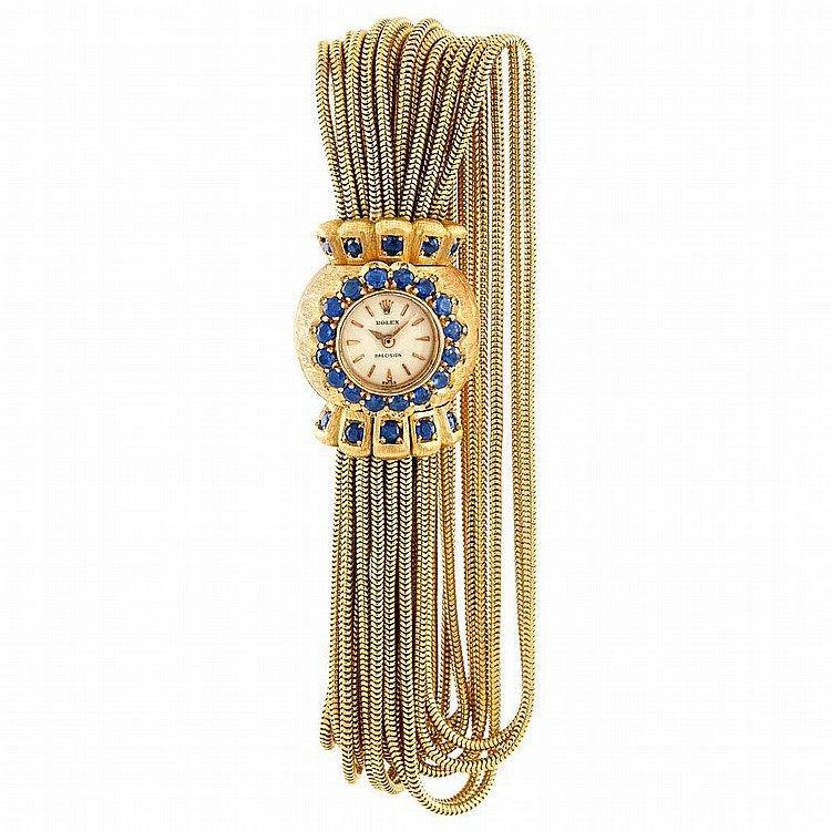 Multistrand Gold and Sapphire Snake Chain Bracelet-Watch, Rolex