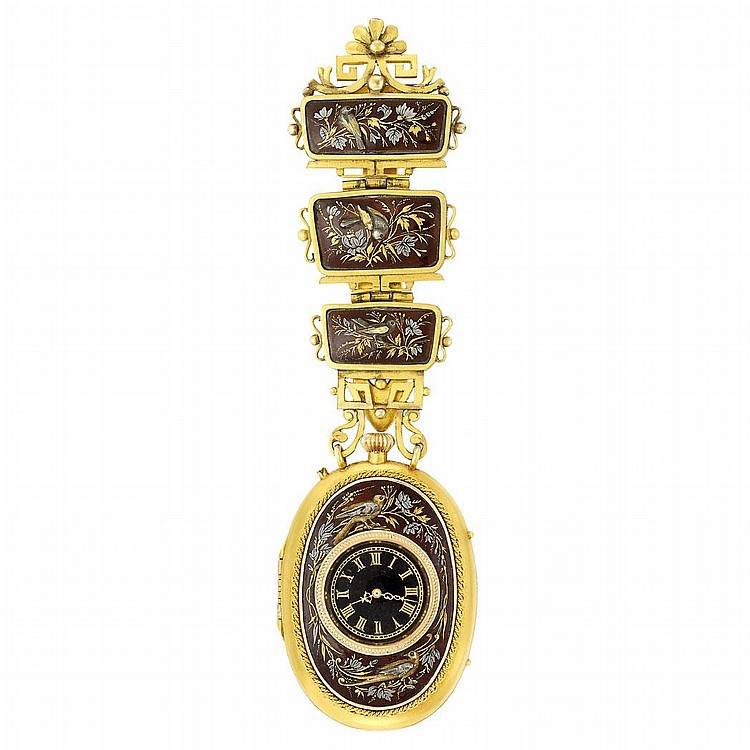 Antique Gold, Silver-Gilt, Enamel and Shakudo Chatelaine Belt Clip-Watch