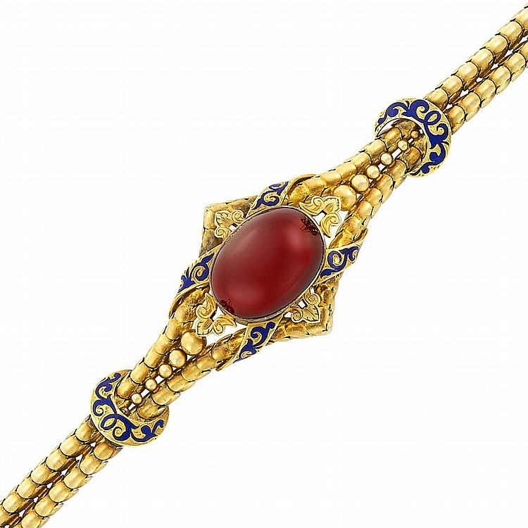 Antique Double Strand Gold, Cabochon Garnet and Enamel Bracelet