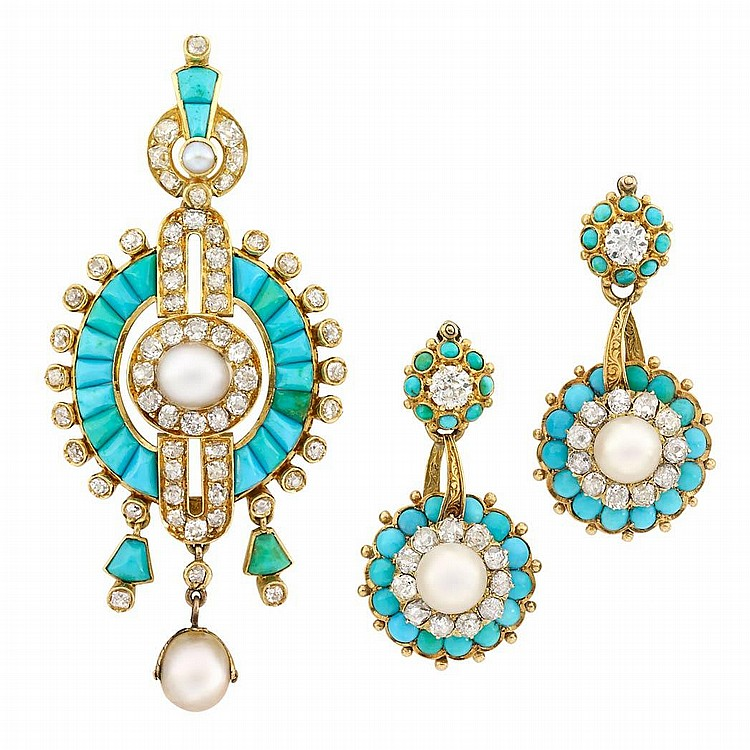 Antique Gold, Pearl, Turquoise and Diamond Pendant-Brooch and Pair of Pendant-Earrings