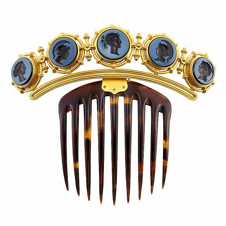 Archaeological Revival Gold, Black Onyx Intaglio and Tortoise Shell Hair Comb, Ernesto Pierret