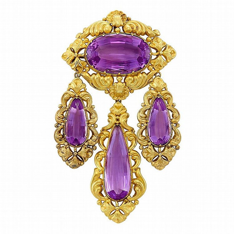 Antique Gold and Amethyst Pendant-Brooch