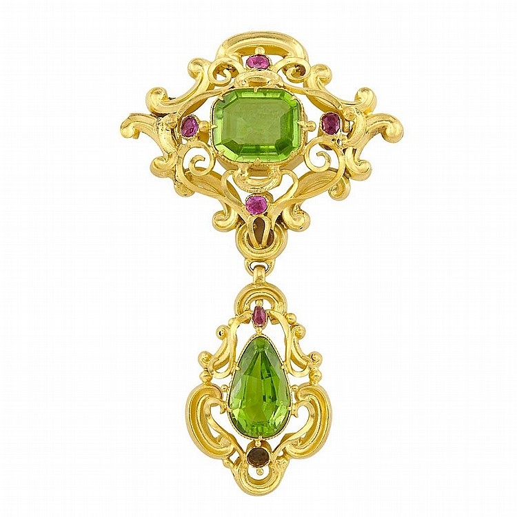 Antique Gold, Peridot and Ruby Brooch