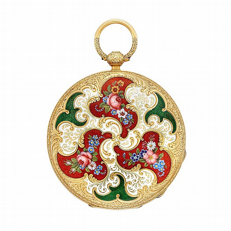 Antique Gold and Enamel Hunting Case Pendant-Watch, Patek & Co., Retailed by TY & E.