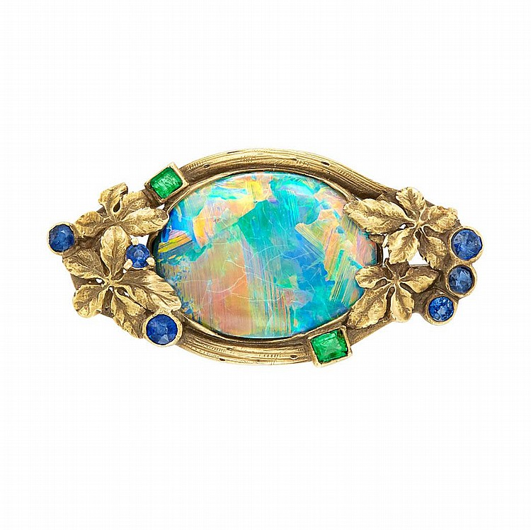 Antique Gold, Black Opal, Emerald and Sapphire Pin
