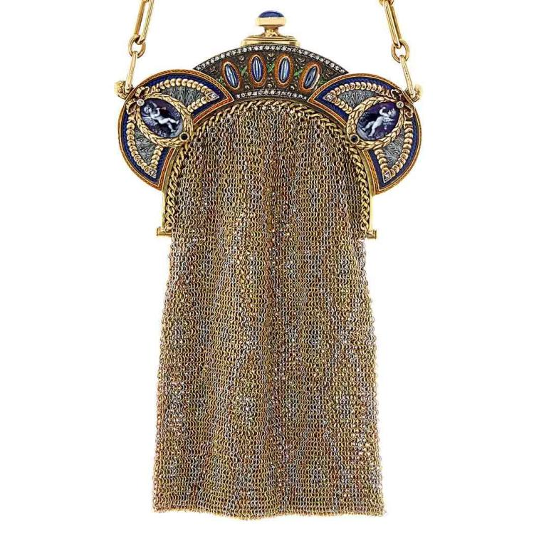 Belle Epoque Tricolor Gold, Silver, Enamel and Cabochon Sapphire Mesh Purse, France