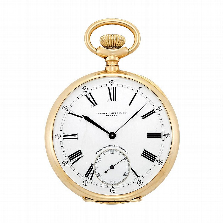 Gentleman''s Gold Open Face Pocket Watch, Patek Philippe, Retailed by Gondolo & Laboreau Relojoeiros, Rio De Janeiro