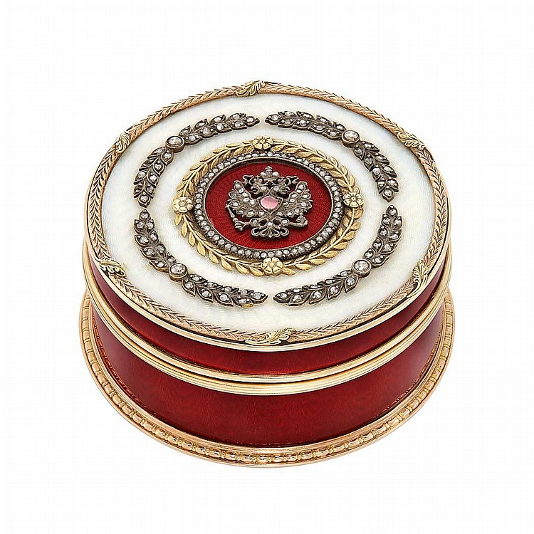 Russian Gold, Silver, Enamel and Diamond Snuff Box