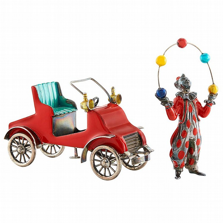 Sterling Silver and Enamel Motor Car and Juggler Figurine, Gene Moore, Tiffany & Co.