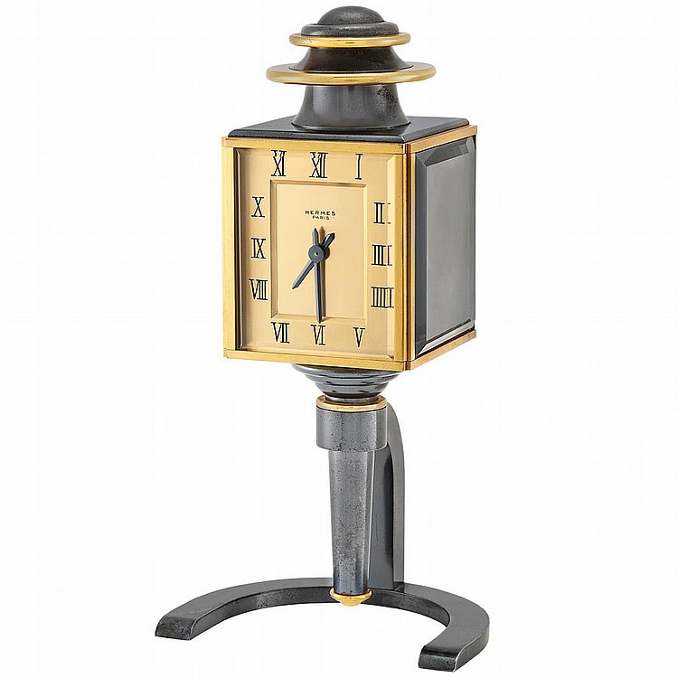 Gilt-Brass, Gunmetal and Steel Shelf Clock, Hermes, Paris