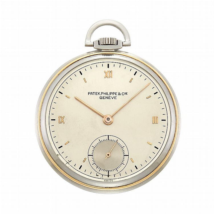 Stainless Steel and Gold Open Face Pocket Watch, Patek Philippe