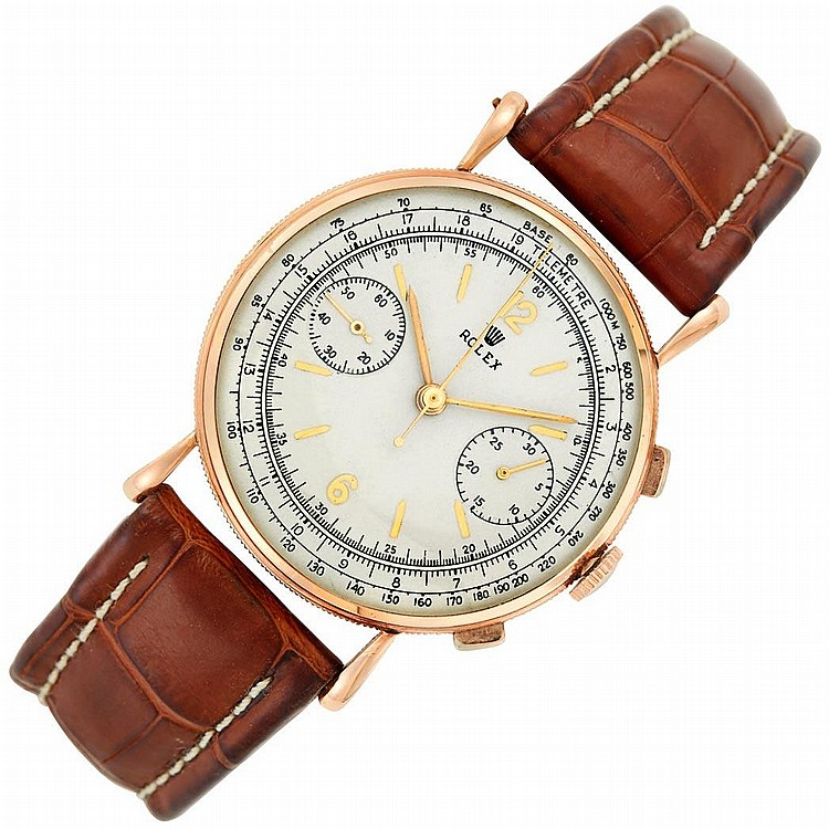 Gentleman''s Rose Gold Chronograph Wristwatch, Rolex, Ref. 4062