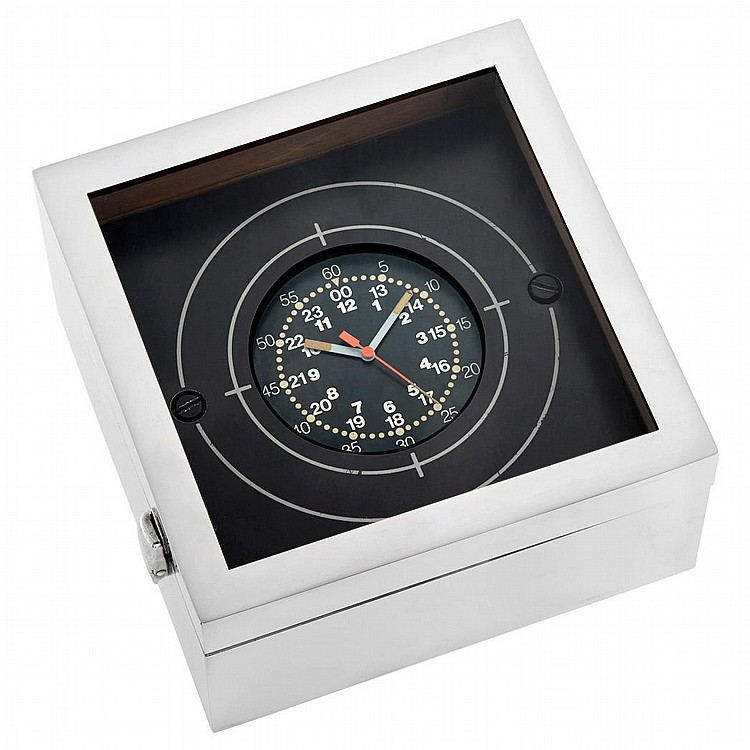 Aluminum and Wood Deck Clock, Patek Philippe, Retailed by Kelvin Hughes, London