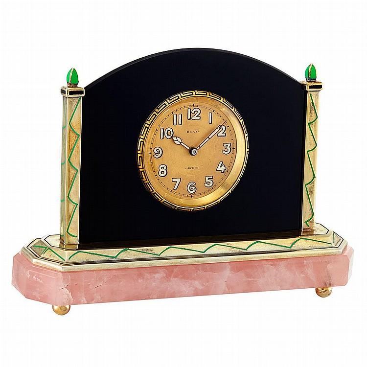 Art Deco Silver-Gilt, Rose Quartz, Black Onyx and Enamel Eight-Day Desk Clock, Cartier