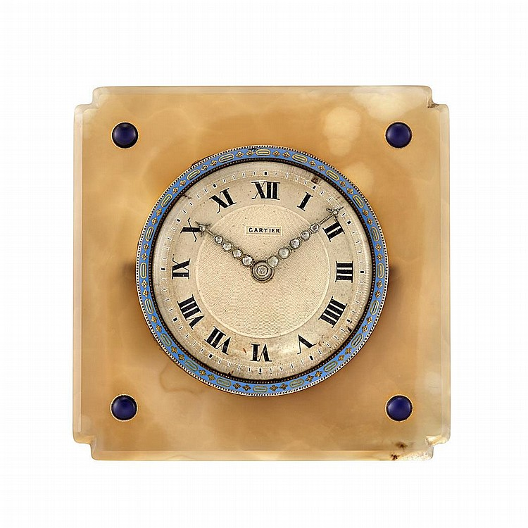 Art Deco Agate, Enamel, Cabochon Synthetic Sapphire and Diamond Desk Clock, Cartier