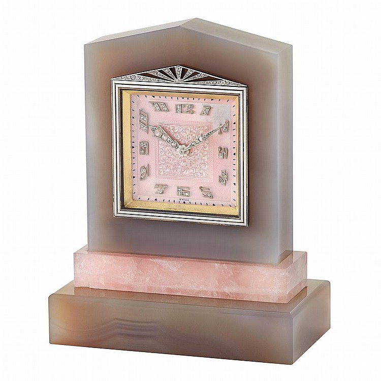 Art Deco Gray Agate, Rose Quartz, Pink Enamel, Diamond and Black Enamel Desk Clock, Haas Neveux & Co.
