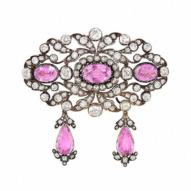 Silver, Gold, Pink Topaz and Diamond Pendant-Brooch
