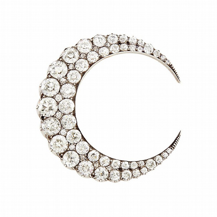 Antique Silver, Gold and Diamond Crescent Brooch