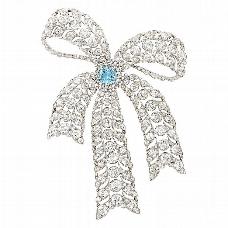 Belle Epoque Platinum, Gold, Aquamarine and Diamond Bow Brooch