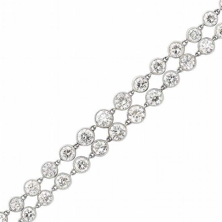 Double Strand Platinum and Diamond Bracelet